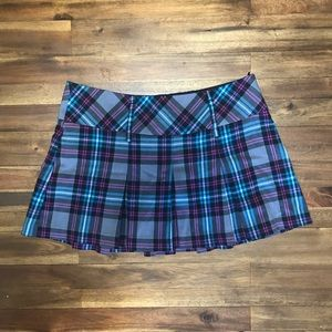 Candie's Blue & Pink Plaid Pleated Mini Skirt